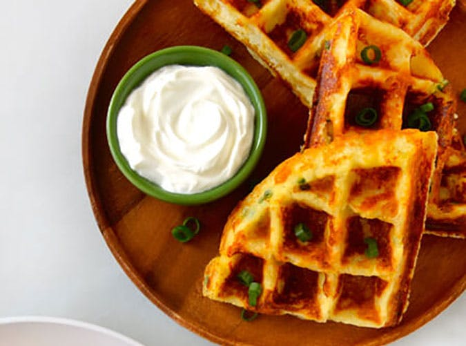 cheesy leftover mashed potato waffles recipe1