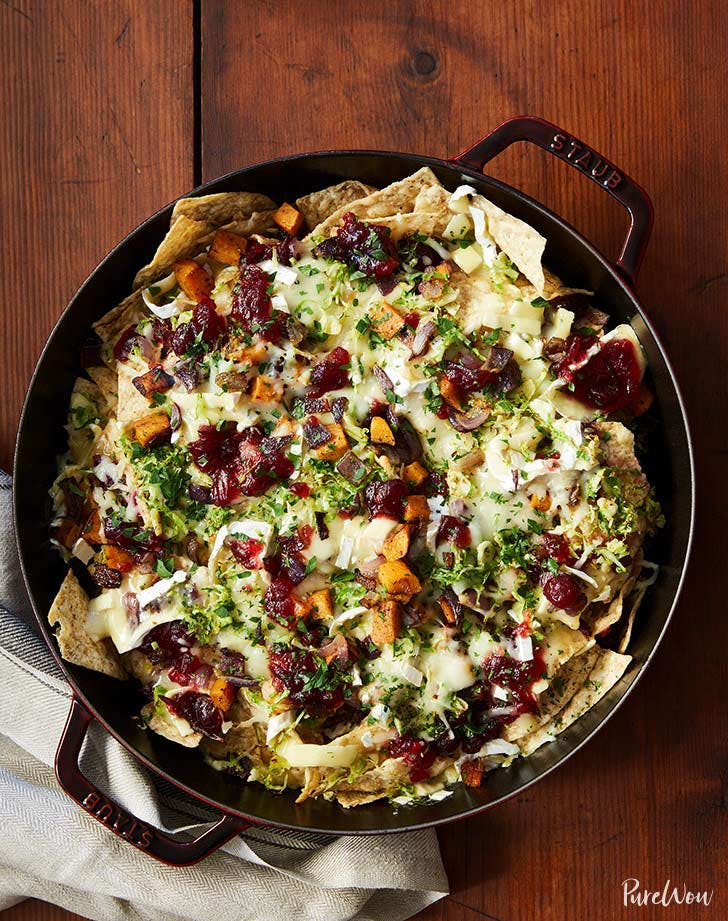 Cranberry, Brussels Sprouts and Brie Skillet Nachos