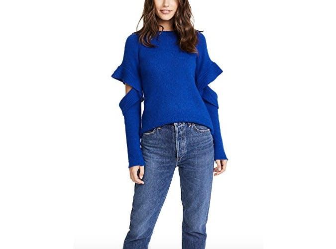 endless rose cobalt cold shoulder sweater  18