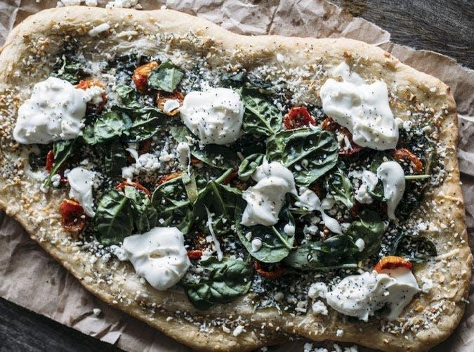 everything bagel green pizza SLIDE