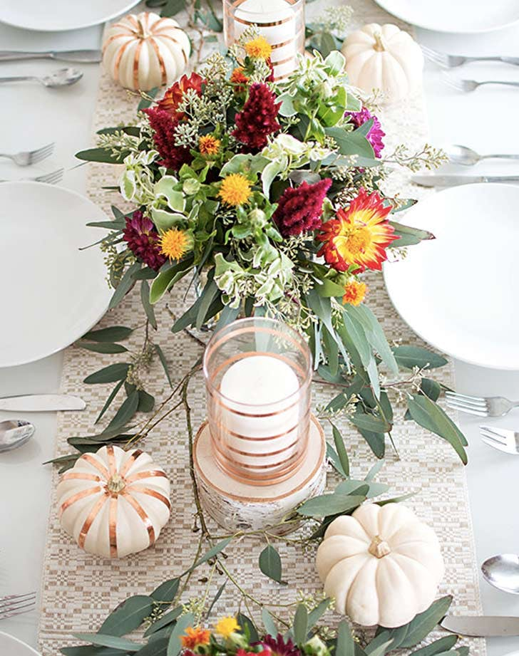 fall tablescape pumpkins bright flowers LIST