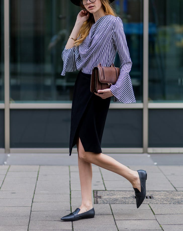 fall work outfit with flats