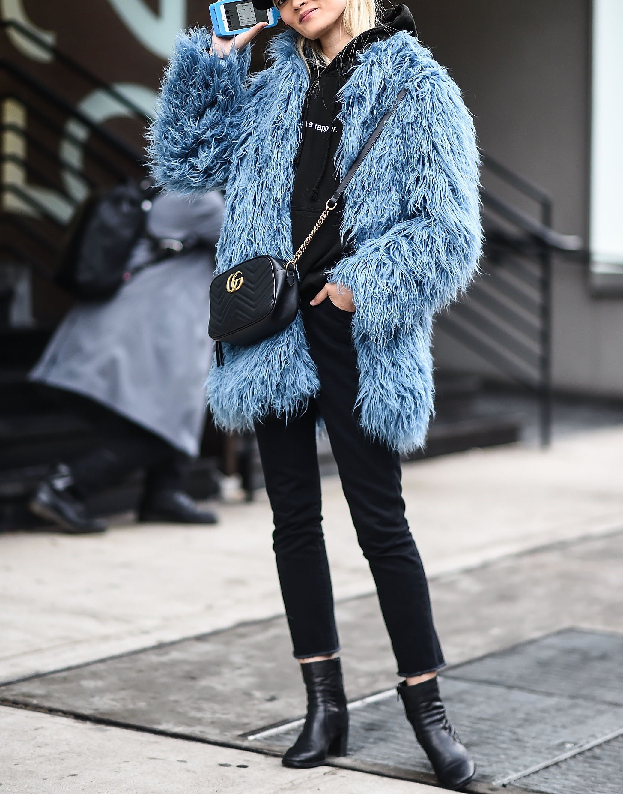 fur jacket sweatshirt ankle boots