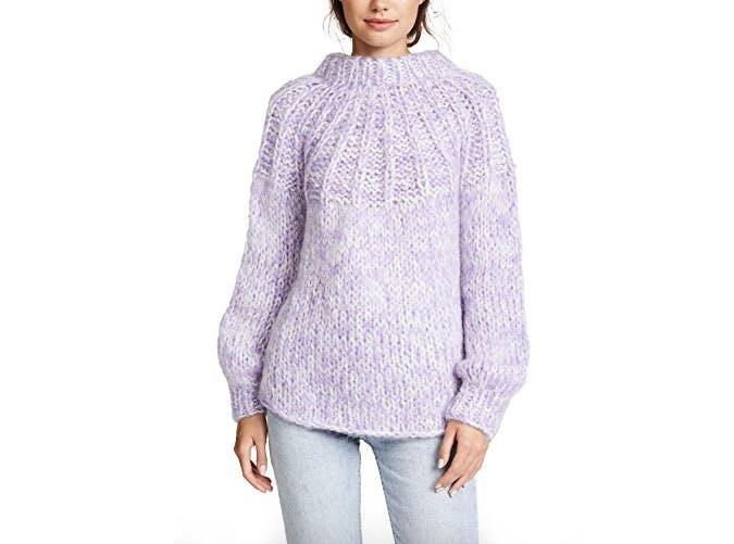 ganni purple tie sweater  7