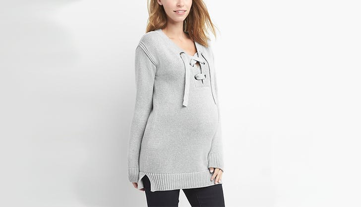 gap lace up sweater maternity clothing