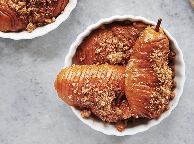 hasselback pear crumble SLIDE