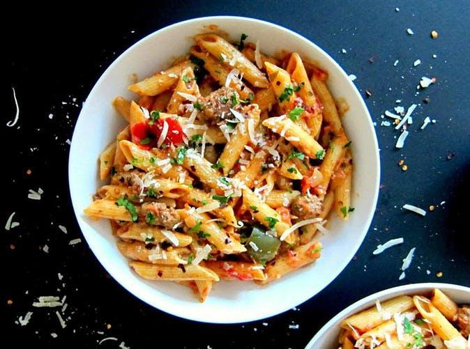 instant pot pasta penne sausage tomato cream 501