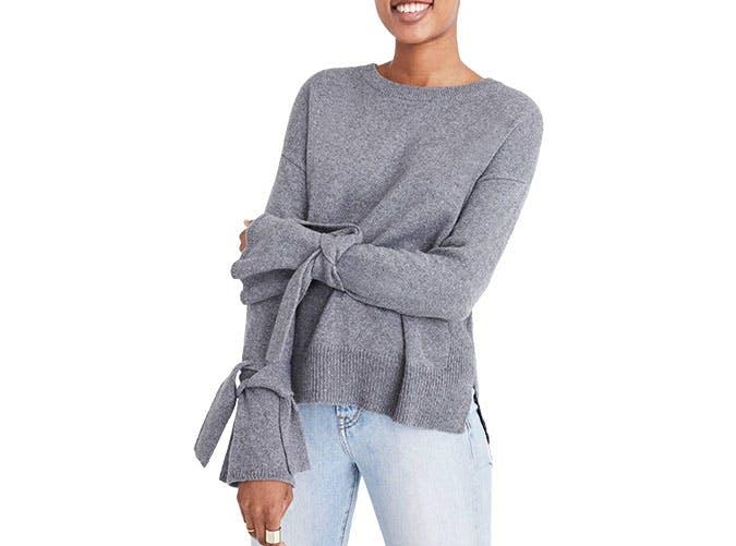 madewell tie sleeve sweater