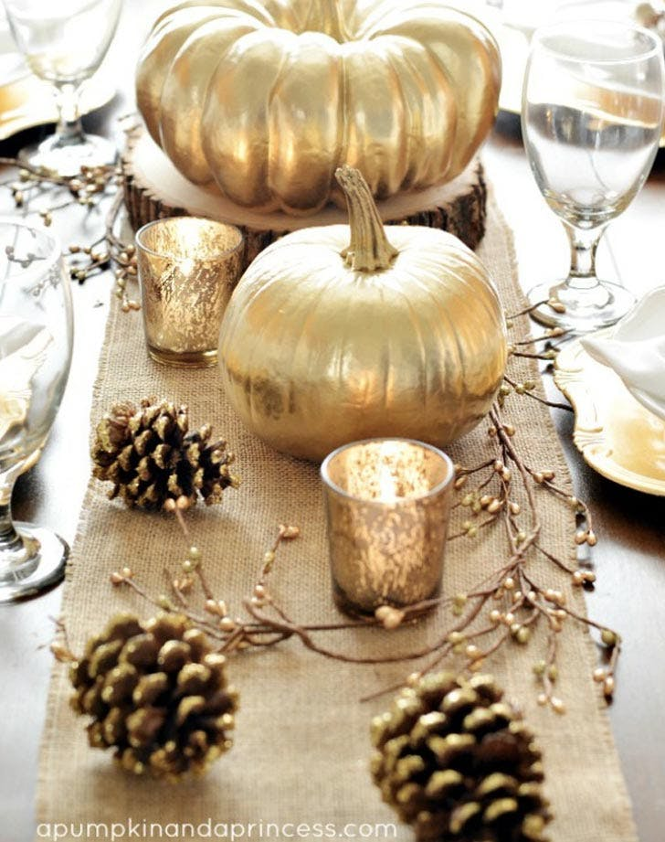 metallic pumpkin fall tablescape LIST