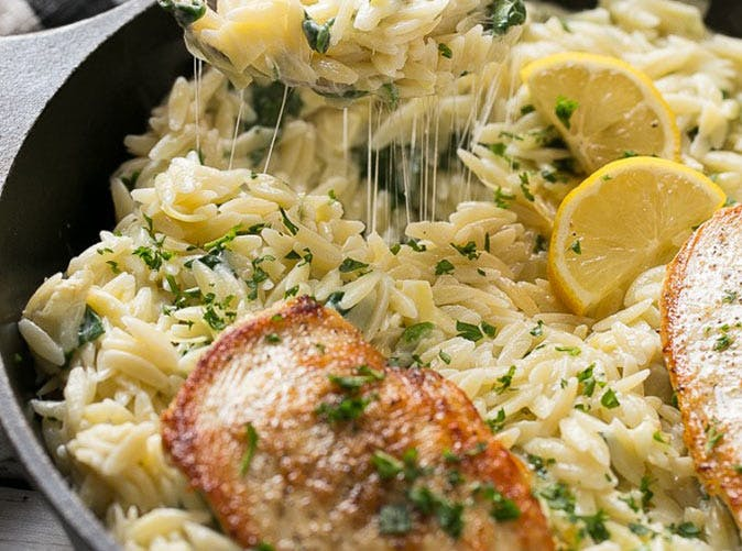 one pot chicken with creamy spinach and artichoke orzo 5011