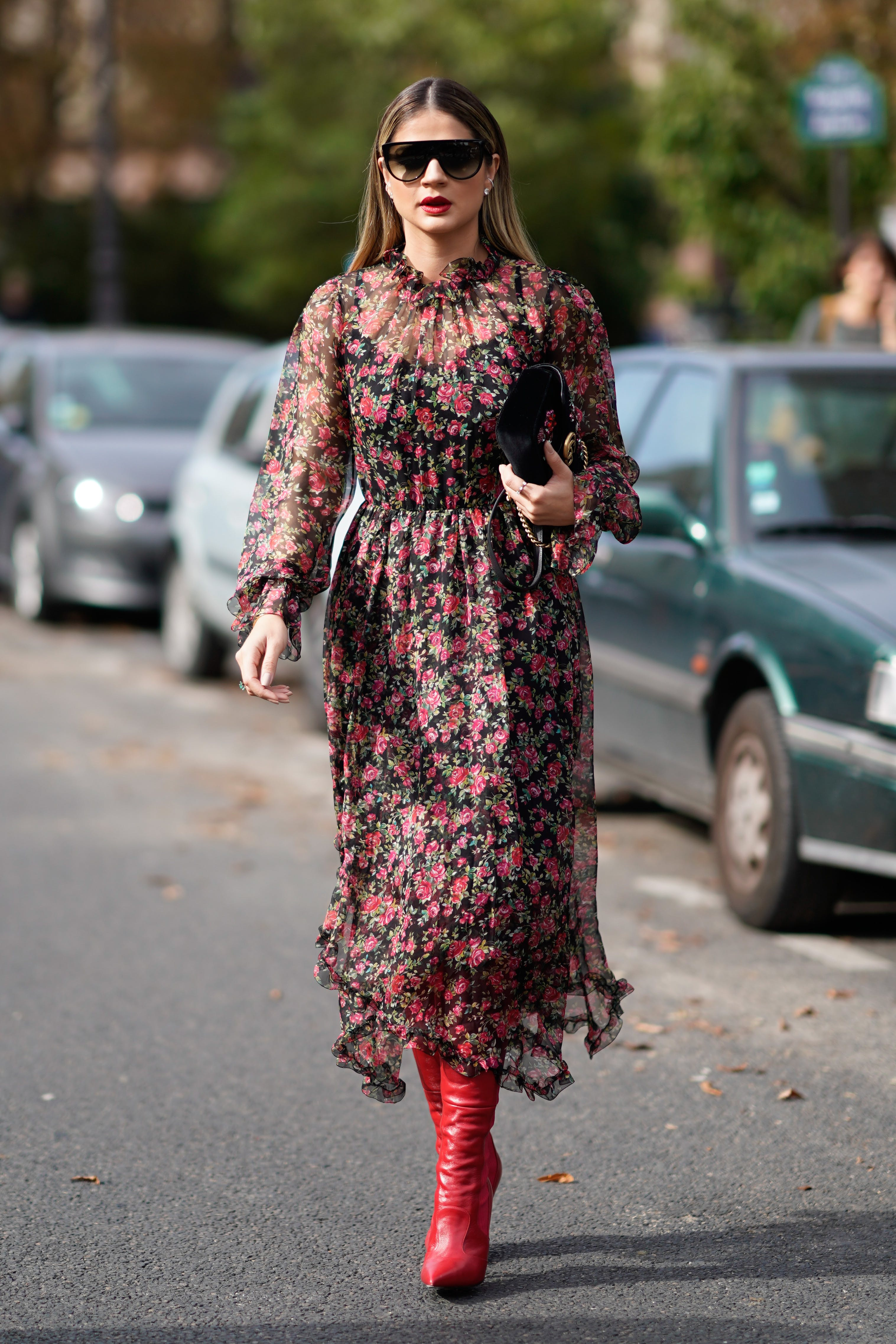 paris street style dress and boots
