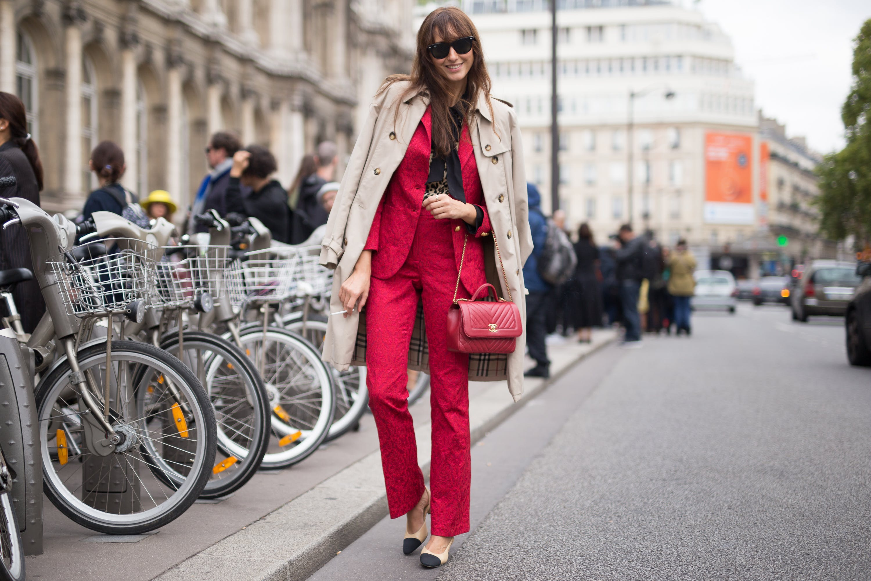 paris street style red suit