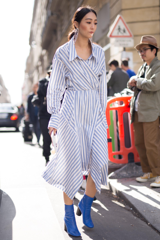 paris street style shirtdress boots