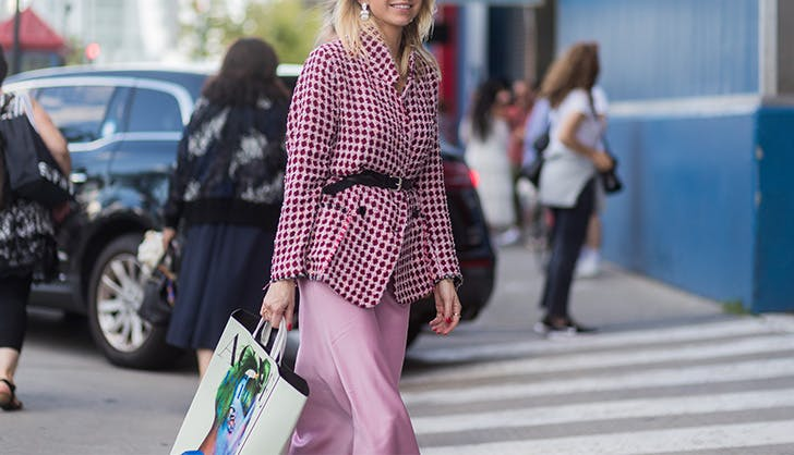 pink silk skirt street style