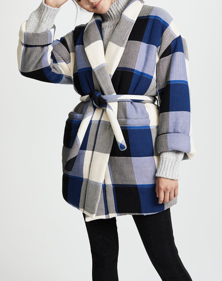 plaid blanket coat