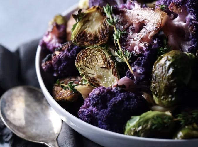purple cauliflower recipes brussels sprouts SLIDE
