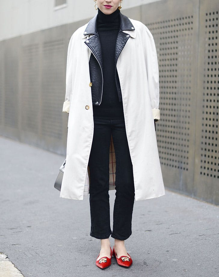 red flats white coat work outfit