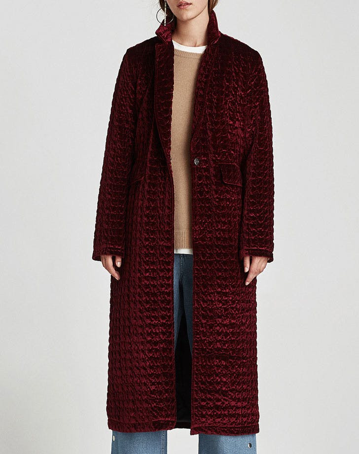 red quilted duster coat