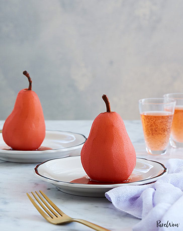 Rosé Poached Pears with Ginger and Vanilla