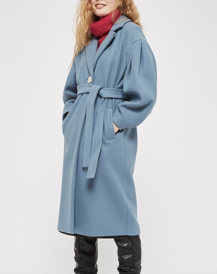 sculpted sleeve blue coat