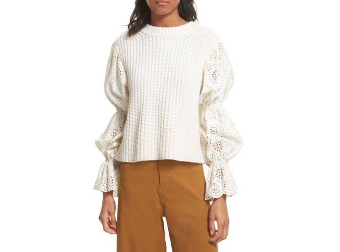 sea new york eyelet sleeve sweater  14