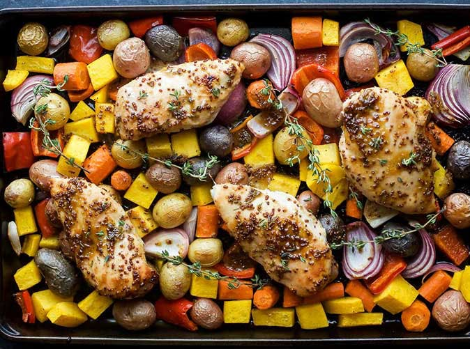 sheet pan honey mustard chicken vegetables 501