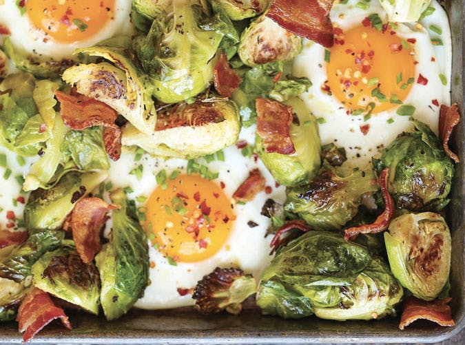 sheet pan brussels spouts bacon eggs SLIDE