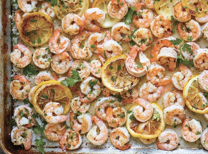 sheet pan garlic butter shrimp SLIDE