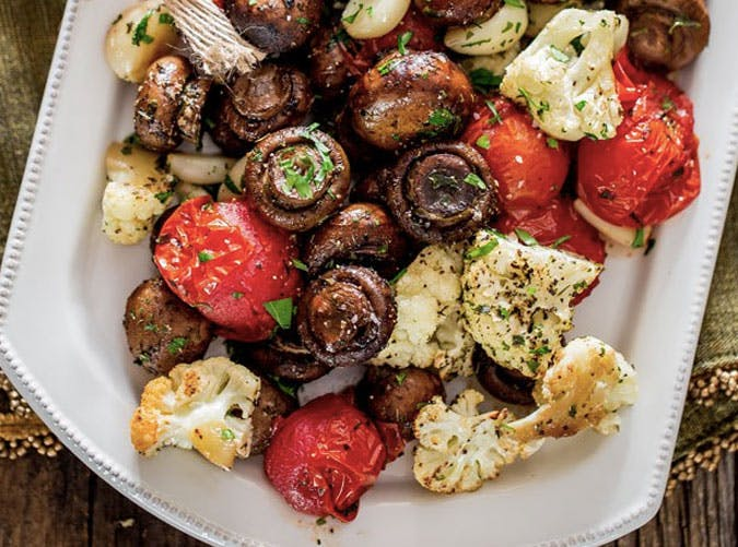sheet pan roasted mushrooms vegetables SLIDE