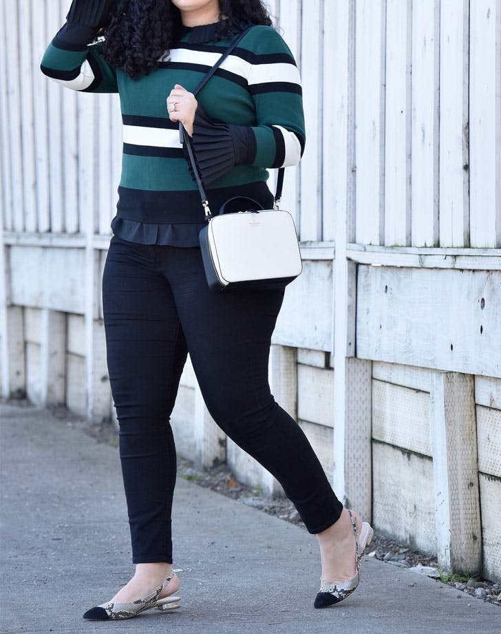 slingback flats striped sweater work outfit idea