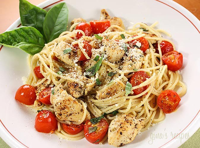 spaghetti with chicken and grape tomatoes 501