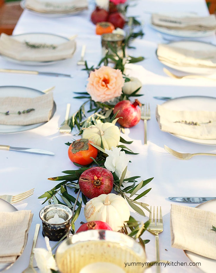Use Fall Fruits as a Table Runner & 10 Original Thanksgiving Table Setting Ideas - PureWow