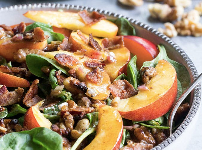 whole30 lunches nectarine spinach salad SLIDE