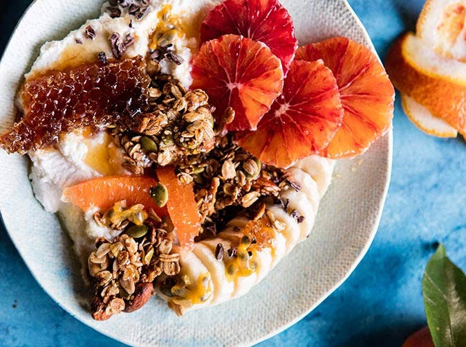 winter citrus ricotta breakfast bowl with honeycomb 501