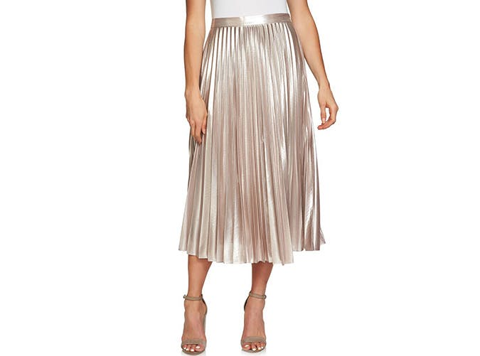 1.State Metallic Midi Skirt