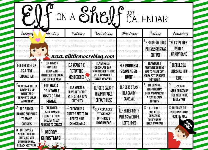2017 Elf on the Shelf Calendar A Little Moore