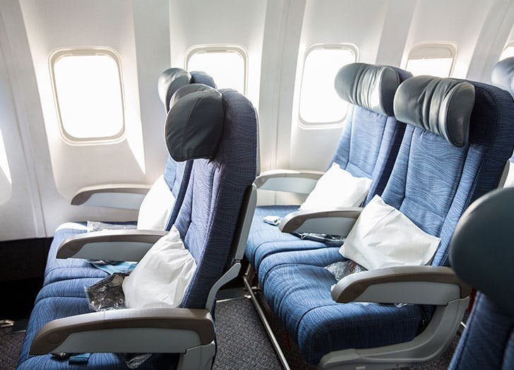 Airplane seats with pillows