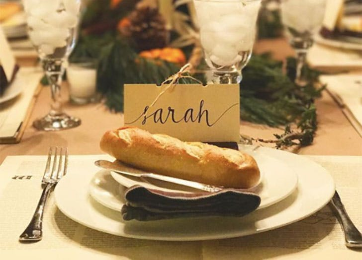 Bread Roll DIY Thanksgiving Place Cards