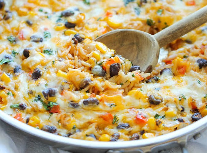 Cheesy Enchilada Rice Skillet big batch recipes