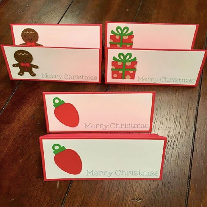 Christmas stickers place card idea