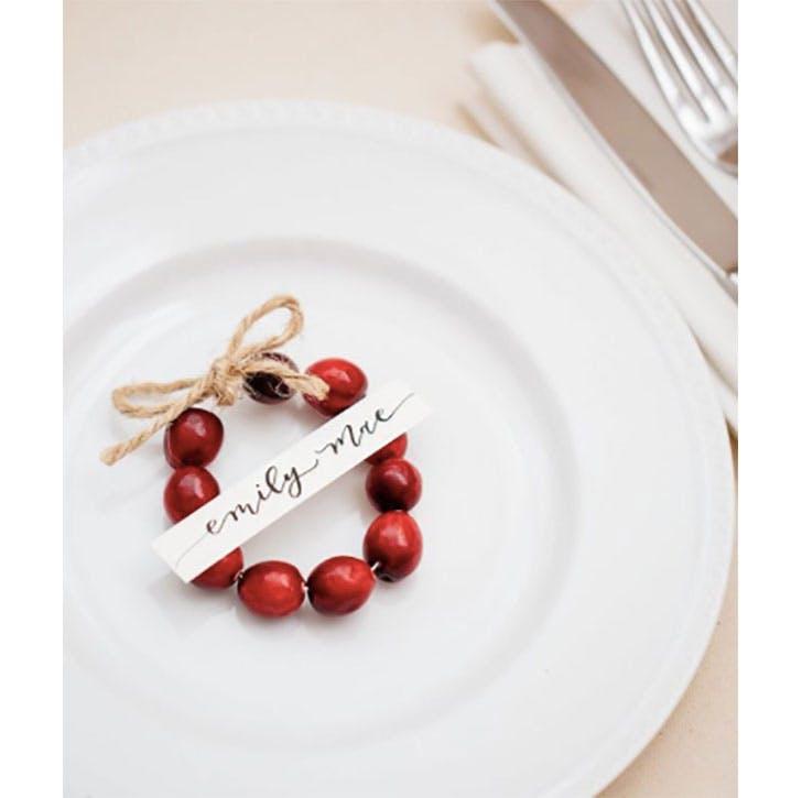 Cranberry Christmas place card idea
