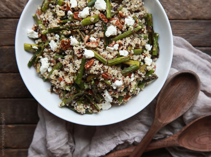 Creamy Goat Cheese Asparagus Quinoa Salad big batch recipes