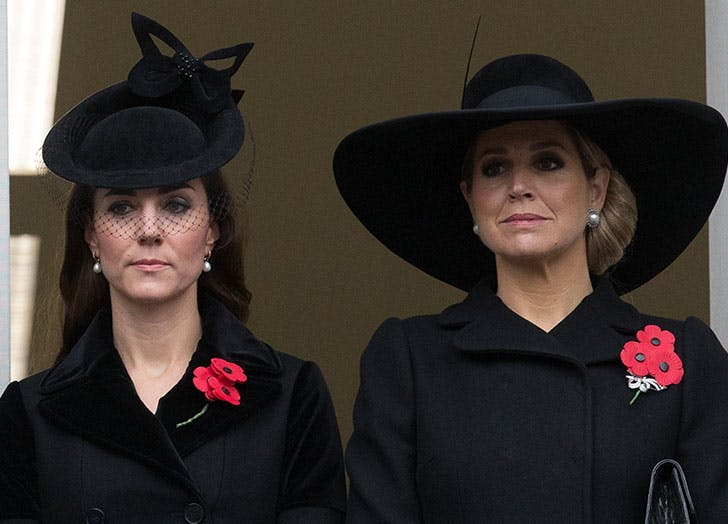 Duchess of Cambridge and Queen Maxima of the Netherlands attend the annual Remembrance Sunday Service