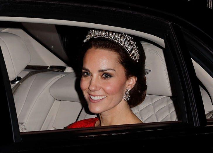 Duchess of Cambridge wears tiara in car