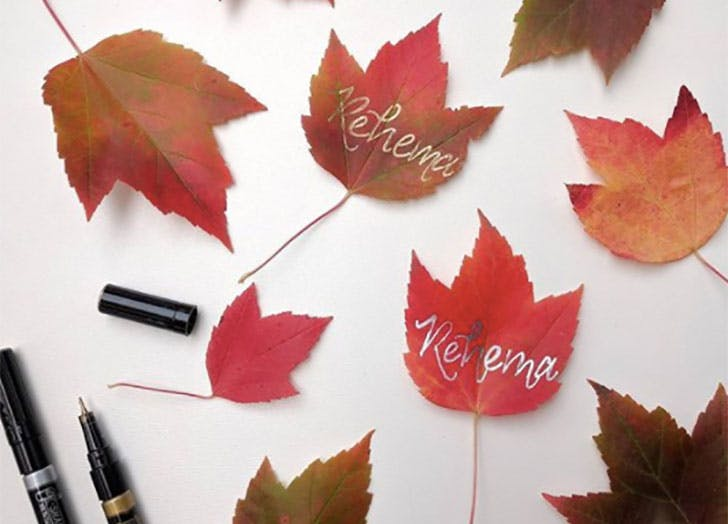 Fall Leaves DIY Thanksgiving Place Cards