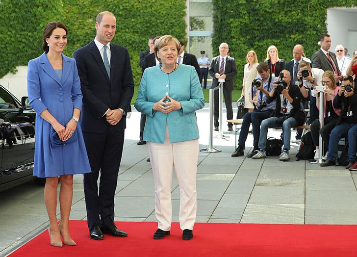 German Chancellor Angela Merkel welcomes Duchess of Cambridge and Prince William
