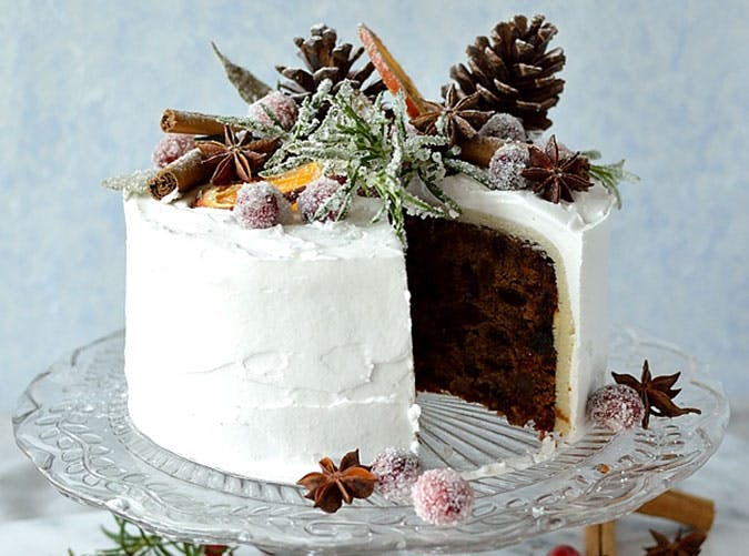Gingered Christmas Fruitcake With Rustic Decorations