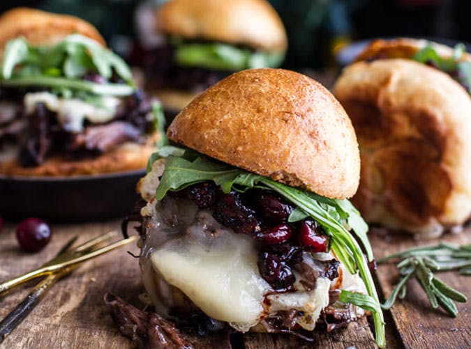 Gingery Steak and Brie Sliders with Balsamic Cranberry Sauce 1