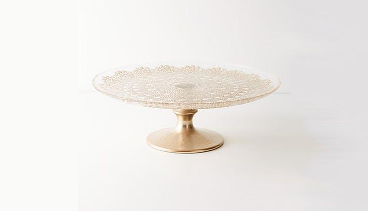 Gold Anthropologie Cake Platter