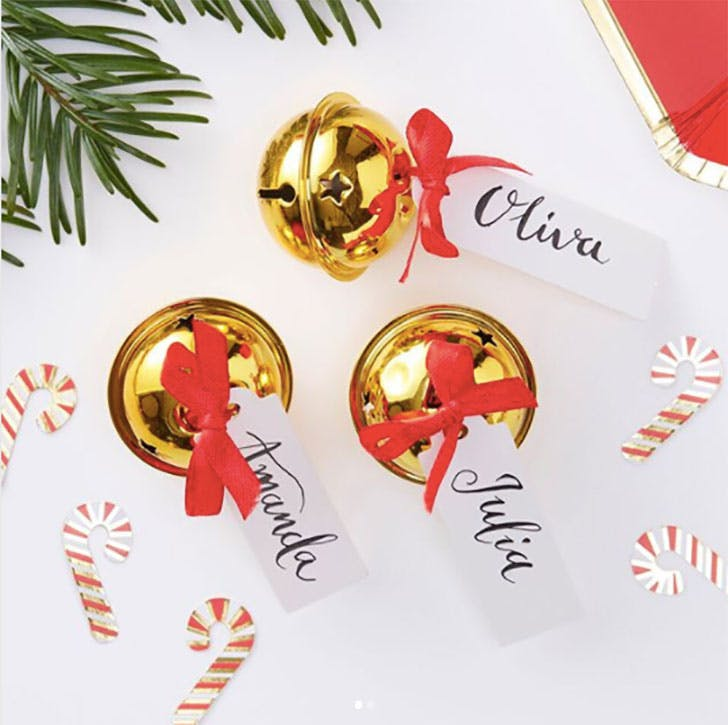Golden Bells Christmas Place Cards